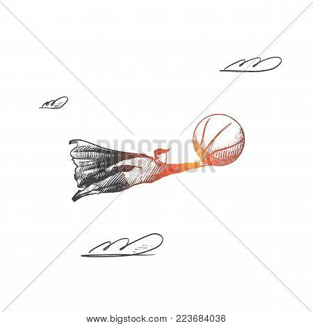 Basketball concept. Hand drawn superhero with ball for basketball play in his hand. Flying hero with sportive ball haircut isolated vector illustration.