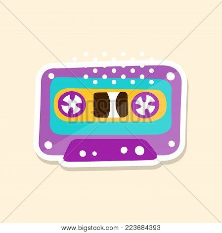Cassette tape, cute sticker in bright colors, fashion patch vector illustration, badge in cartoon style