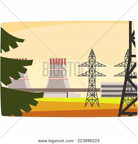Energy generation power station, powerful nuclear reactor horizontal vector illustration on a white background