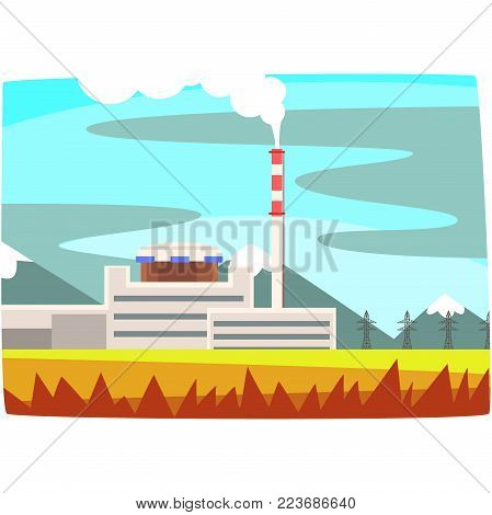 Fossil fuel power station, electricity generation plant horizontal vector illustration on a white background