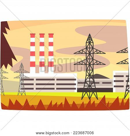 Fossil fuel power station, energy producing plant horizontal vector illustration on a white background