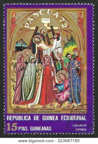 Guinea Equatorial - circa 1972: Stamp printed by Guinea, Color edition on Easter Art, shows Painting Descent from the Cross, circa 1972