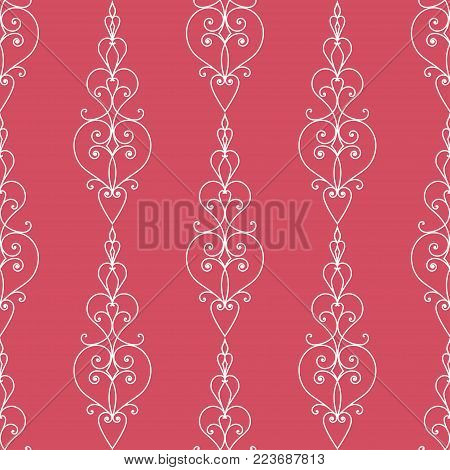 eamless pattern with abstract hearts ornament and curve lines. Vector illustration for romantic design. Endless texture for printing onto fabric, web page background and paper or invitation. White and red colors.