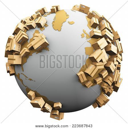 3D render illustration of the white Earth globe with map covered with a group of cardboard package boxes isolated on white background