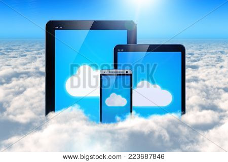 3D render illustration of the group of tablet computer PC and smartphone or mobile phone in the air above the clouds in the blue sky