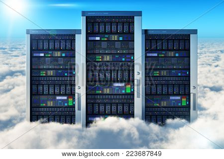 3D render illustration of the group of network servers in the blue sky with clouds