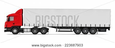 3D render illustration of the side profile view of red semi-truck isolated on white background