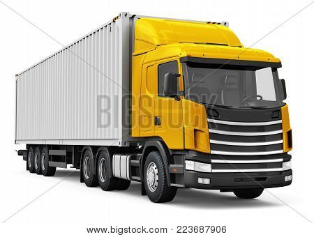 3D render illustration of the yellow semi-truck with 40 ft heavy cargo container isolated on white background