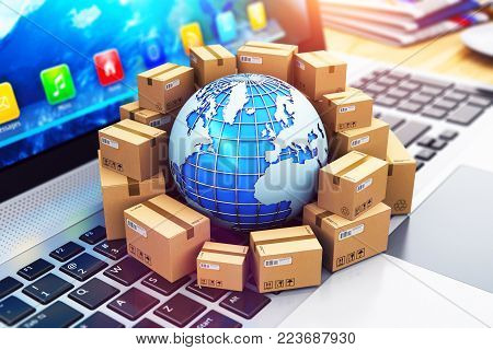Creative abstract shipping, delivery and logistics technology business industrial concept: 3D render illustration of the macro view of heap of stacked corrugated cardboard package boxes and blue Earth globe with with world map on computer PC laptop notebo