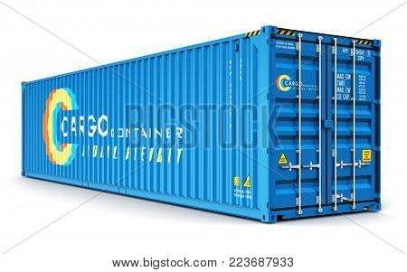 3D render illustration ot blue 40 ft metal color cargo container isolated on white background