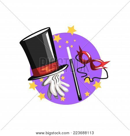 Symbols of the magician profession, black top hat, white gloves, magic wand and mask cartoon vector Illustration on a white backgroun