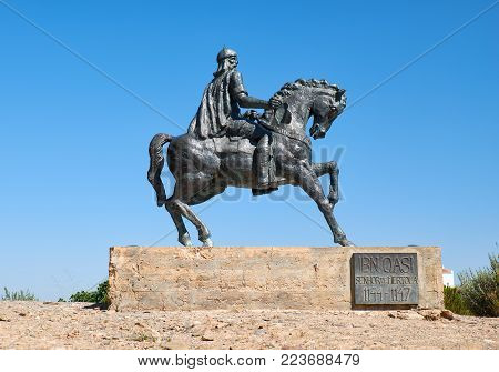 An equestrian statue of Ibn Qasi, the proclaimed political and spiritual leader of the taifa kingdom of Mertola. Mertola. Portugal