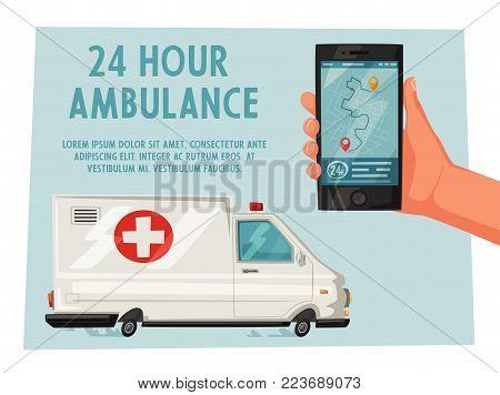 Ambulance car. Cartoon vector illustration. Emergency medical help. Online call