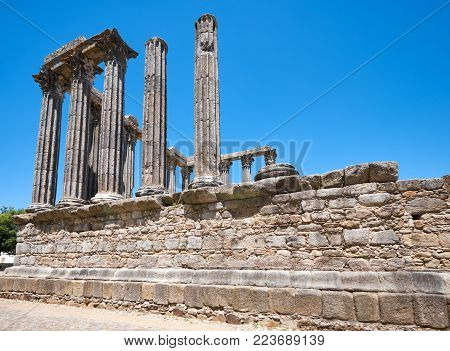 Temple of Diana, the Roman temple of Evora dedicated to the cult of Emperor Augustus - the most famous landmark of Evora. Portugal poster