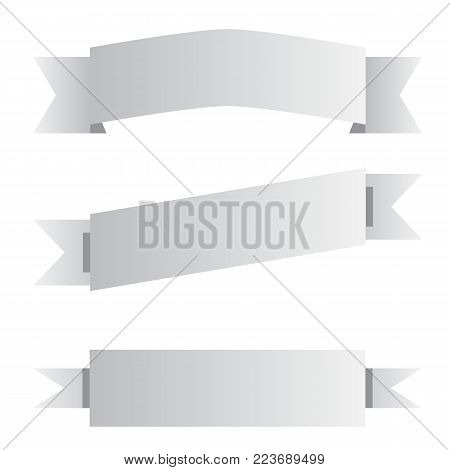 three gray ribbon banner sign. three gray ribbon banner on white background. black and white banner symbol.