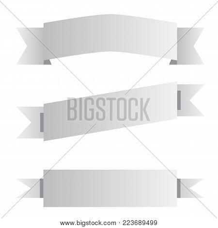 three gray ribbon banner sign. three gray ribbon banner on white background. black and white banner symbol.