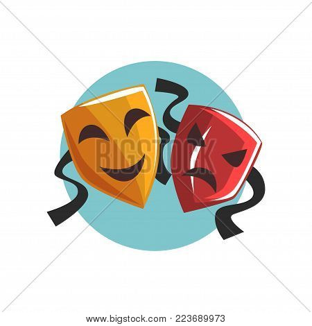 Comedy and tragedy theatrical masks cartoon vector Illustration on a white background