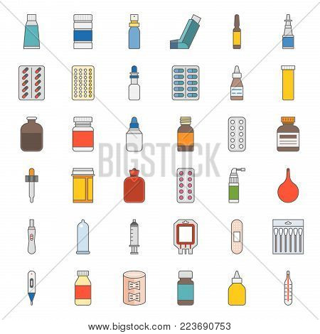 Pharmacy item, such as medicine, antibiotic, plaster, cough syrup, nasal spray, condom, dropper, cotton bud, syringe, painkiller, mouth spray, antiseptic cream, filled outline icon