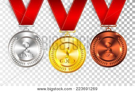 Set of gold, silver and bronze award medals with red ribbons. Medal round empty polished vector collection isolated on transparent background. Premium badges. Winner awards. Gold silver bronze award medals.