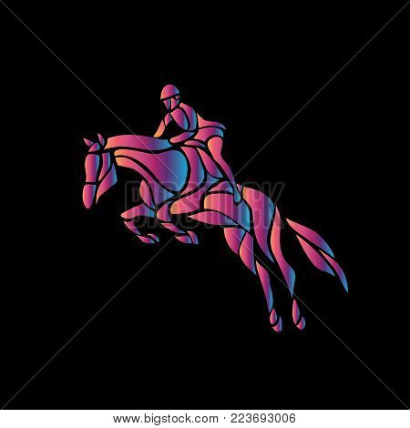 Horse race. Equestrian sport. Silhouette of racing horse with jockey on black background. Horse and rider. Racing horse and jockey abstract silhouette. Vector eps 8