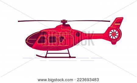 Cool vector civil helicopter airway transport vehicle. All purpose helicopter aircraft in trendy flat design, isolated.