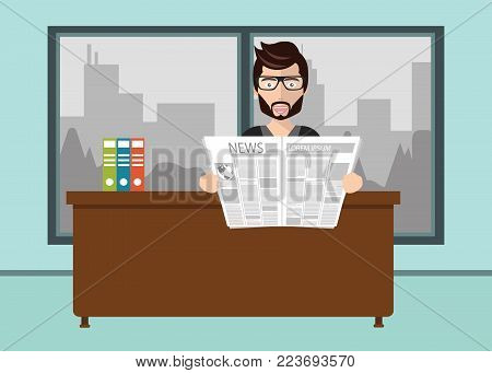 Lazy businessman reading newspaper in office. Flat vector illustration