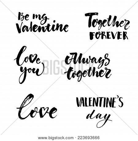 Love and Valentines Day inscriptions collection with black handwritten calligraphic romantic amourous letterings isolated vector illustration