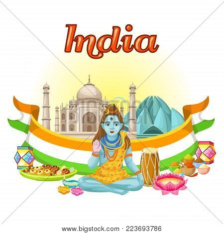 Indian culture traditional template with Shiva God Taj Mahal Lotus Temple national flag drums sweets flowers diya vector illustration