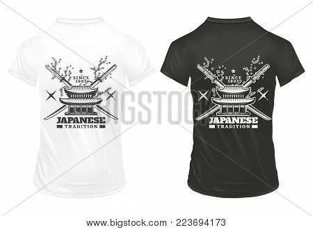 Vintage japanese culture prints template on shirts with inscription crossed swords samurai shurikens sakura branches traditional house isolated vector illustration