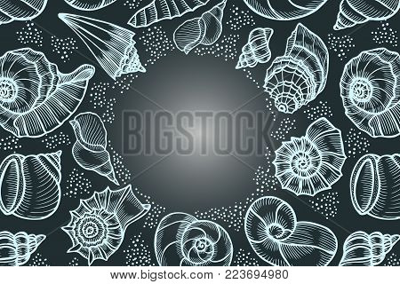 Seashells hand drawn vector etching sketch isolated on black background, decorative square frame, underwater artistic marine texture, template label, layout design for card, beauty salon, spa, banner