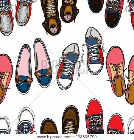 Seamless pattern with red and blue shoes. Hand drawn gumshoes