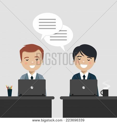 Coworkers talking about work at the office. Vector illustration