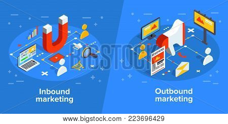 Social media concept vector illustration with magnet engaging followers and likes. Influence marketing or viral advertising campaign. Audience or customer retention strategy. poster