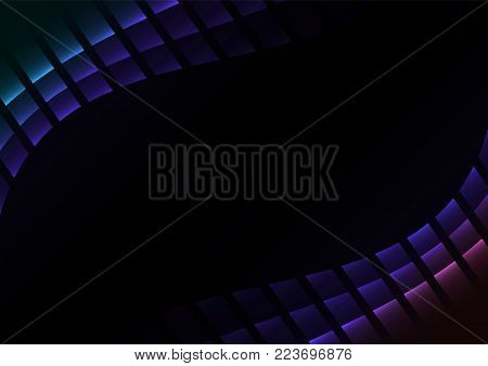 blue purple abstract pixel curve background, square black gradient layer line, technology geometric background, vector illustration