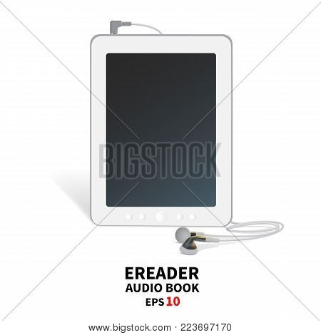 Audiobook with headphones. Gadget for listening to audio recordings, reading. It stands on the surface, facing the viewer, in plan, in the front. Template, a rustic image. Vector illustration, isolated on white background. EPS 10.