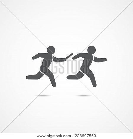 Relay race symbol icon on white background