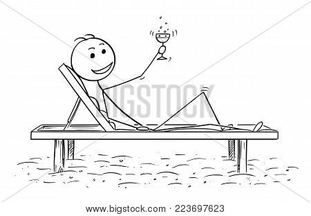 Cartoon stick man drawing conceptual illustration of successful man or traveler relaxing on the beach bed with glass of drink or wine. Concept of success or relax.