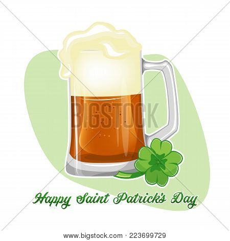 St. Patrick s day beer clover over white. Stock vector.