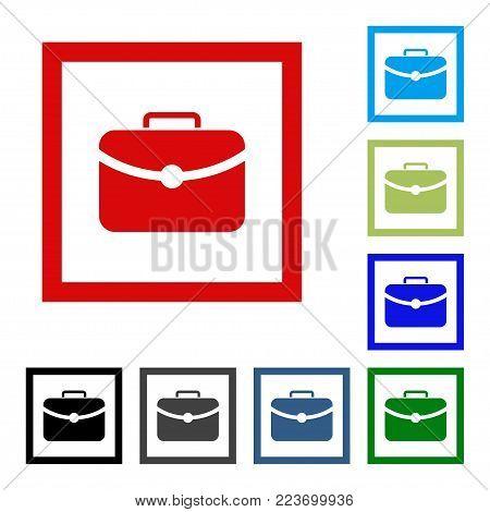 Case Icon. Flat Grey Iconic Symbol Inside A Color Quare. Black, Gray, Green, Blue, Red, Color Versio