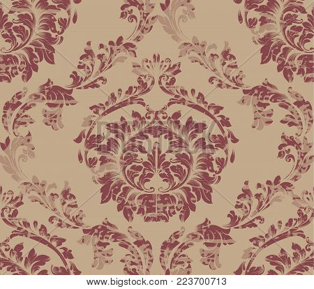Luxurious Damask pattern Vector ornament decor. Baroque background textures. Royal victorian trendy design