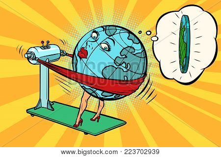 Fat wants to lose weight, character planet Earth. Comic book cartoon pop art illustration retro drawing