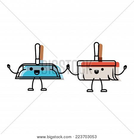 kawaii cartoon hand broom and hand dustpan holding hands in colorful watercolor silhouette vector illustration