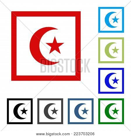 Religious Islamic Star and Crescent isolated on white background