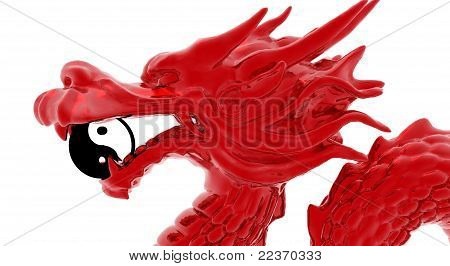 Red dragon with yin yang sign