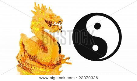 Golden dragon with yin yang sign