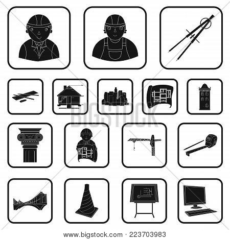 Architecture and construction black icons in set collection for design. Architect and equipment vector symbol stock  illustration.