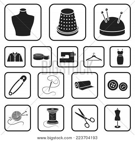 Atelier and sewing black icons in set collection for design. Equipment and tools for sewing vector symbol stock  illustration.
