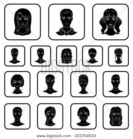 Avatar and face black icons in set collection for design. A person's appearance vector symbol stock illustration.
