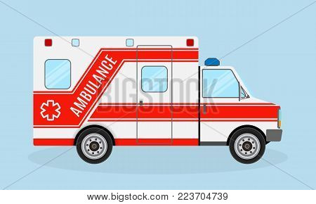 Ambulance car side view. Emergency medical service vehicle. Medicine paramedic transportation. Hospital transport. Flat style vector illustration.