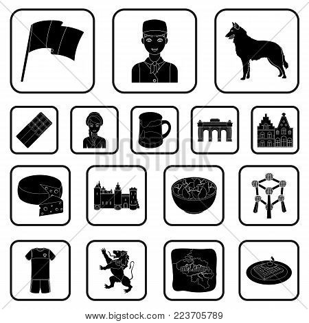 Country Belgium black icons in set collection for design.Travel and attractions Belgium vector symbol stock  illustration.